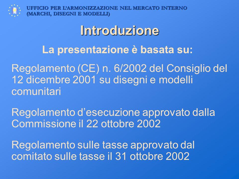 UFFICIO PER LARMONIZZAZIONE NEL MERCATO INTERNO (MARCHI, DISEGNI E MODELLI) Introduzione La presentazione è basata su: Regolamento (CE) n. 6/2002 del