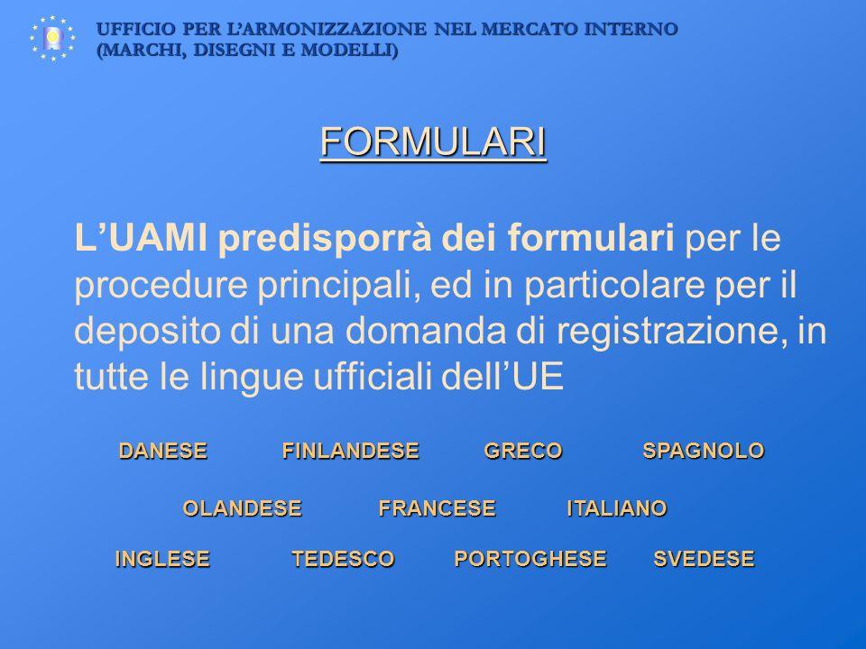 UFFICIO PER LARMONIZZAZIONE NEL MERCATO INTERNO (MARCHI, DISEGNI E MODELLI) FORMULARI LUAMI predisporrà dei formulari per le procedure principali, ed