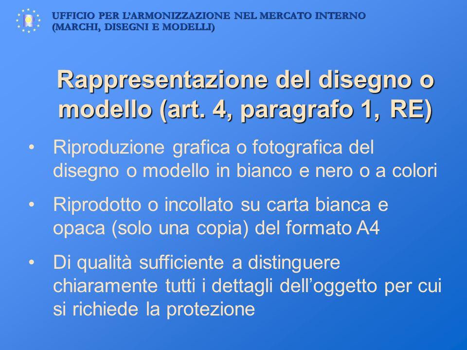 UFFICIO PER LARMONIZZAZIONE NEL MERCATO INTERNO (MARCHI, DISEGNI E MODELLI) Rappresentazione del disegno o modello (art. 4, paragrafo 1, RE) Riproduzi