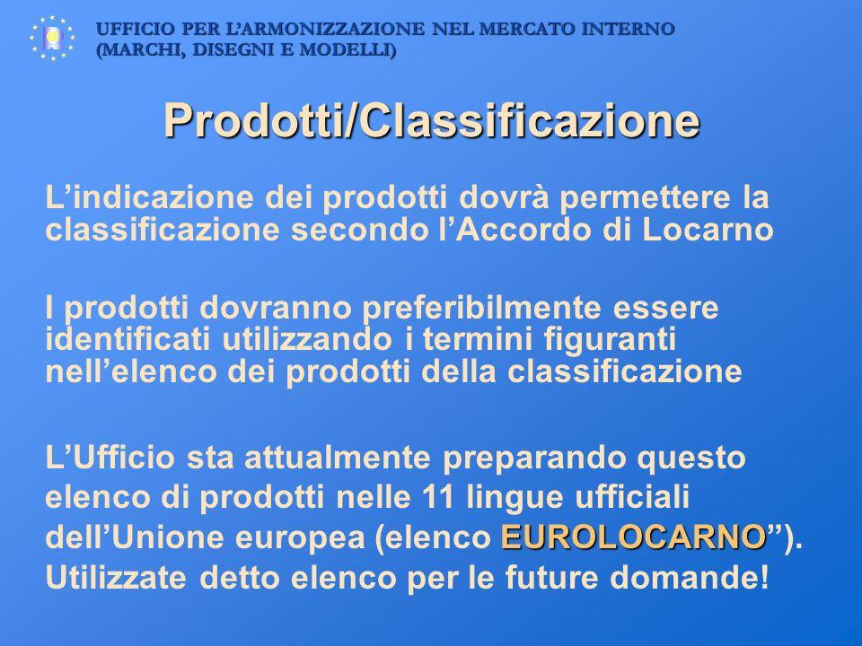 UFFICIO PER LARMONIZZAZIONE NEL MERCATO INTERNO (MARCHI, DISEGNI E MODELLI) Prodotti/Classificazione Lindicazione dei prodotti dovrà permettere la cla