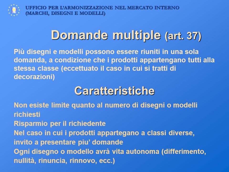 UFFICIO PER LARMONIZZAZIONE NEL MERCATO INTERNO (MARCHI, DISEGNI E MODELLI) Domande multiple (art. 37) Più disegni e modelli possono essere riuniti in