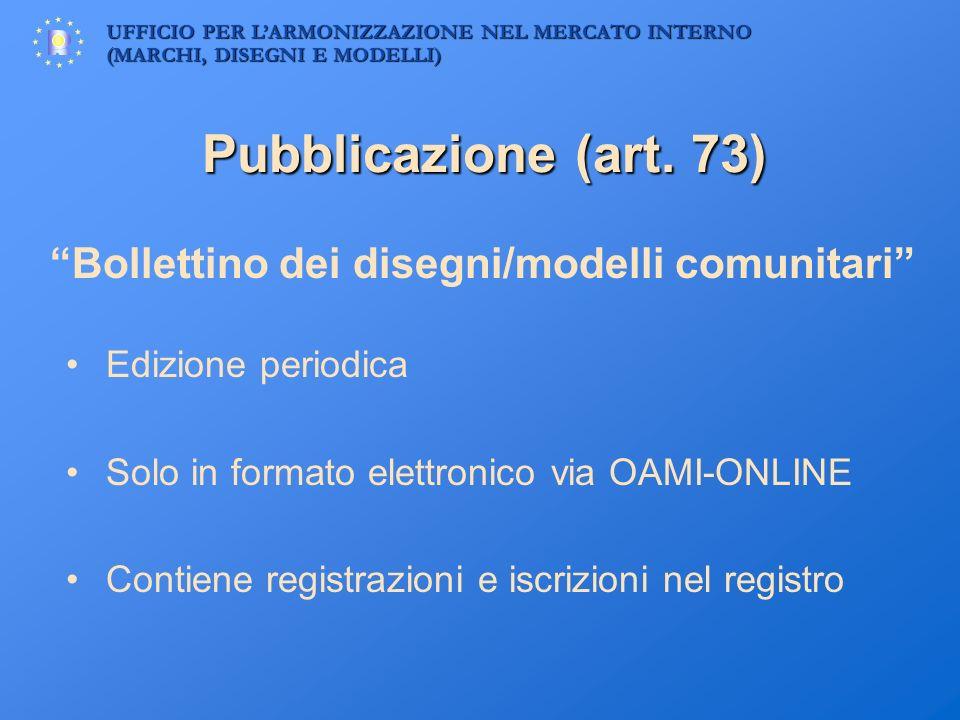 UFFICIO PER LARMONIZZAZIONE NEL MERCATO INTERNO (MARCHI, DISEGNI E MODELLI) Pubblicazione (art. 73) Bollettino dei disegni/modelli comunitari Edizione