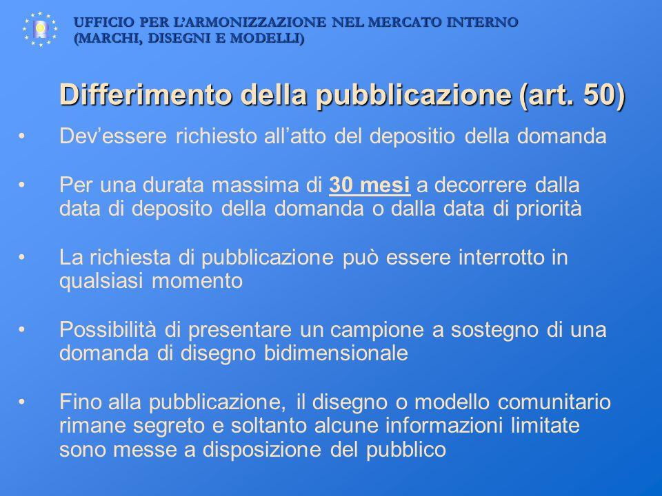 UFFICIO PER LARMONIZZAZIONE NEL MERCATO INTERNO (MARCHI, DISEGNI E MODELLI) Differimento della pubblicazione (art. 50) Devessere richiesto allatto del