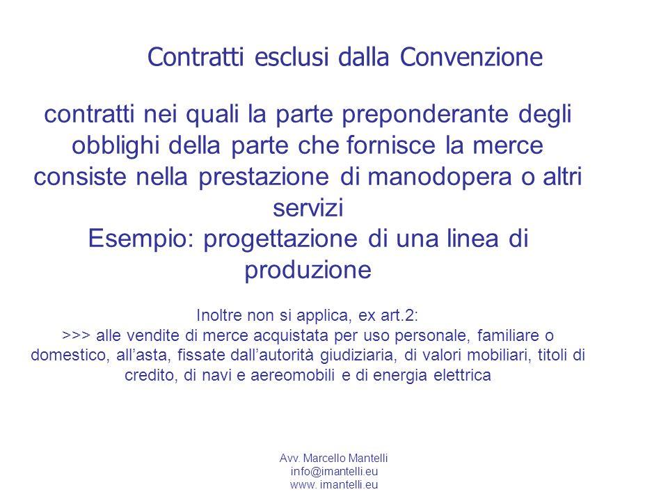 Avv. Marcello Mantelli info@imantelli.eu www. imantelli.eu Contratti esclusi dalla Convenzione contratti nei quali la parte preponderante degli obblig