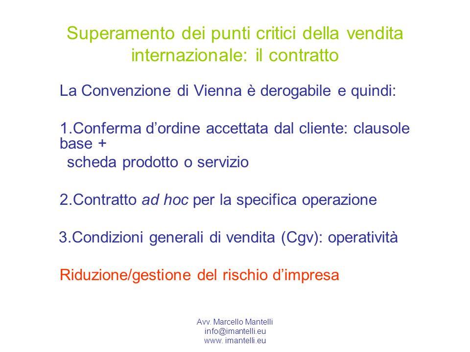 Avv. Marcello Mantelli info@imantelli.eu www. imantelli.eu Superamento dei punti critici della vendita internazionale: il contratto La Convenzione di