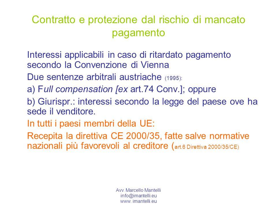 Avv. Marcello Mantelli info@imantelli.eu www. imantelli.eu Contratto e protezione dal rischio di mancato pagamento Interessi applicabili in caso di ri