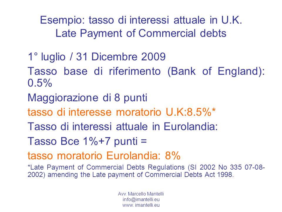 Avv. Marcello Mantelli info@imantelli.eu www. imantelli.eu Esempio: tasso di interessi attuale in U.K. Late Payment of Commercial debts 1° luglio / 31