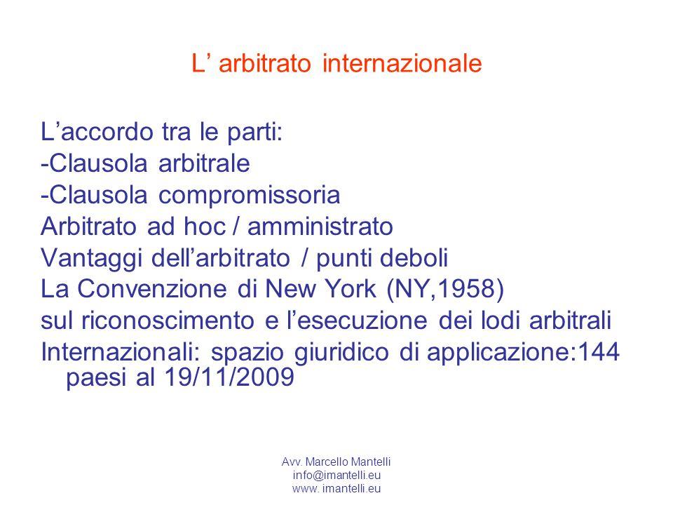 Avv. Marcello Mantelli info@imantelli.eu www. imantelli.eu L arbitrato internazionale Laccordo tra le parti: -Clausola arbitrale -Clausola compromisso