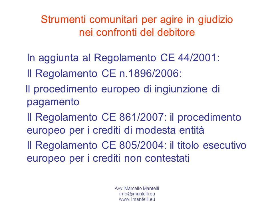 Avv. Marcello Mantelli info@imantelli.eu www. imantelli.eu Strumenti comunitari per agire in giudizio nei confronti del debitore In aggiunta al Regola