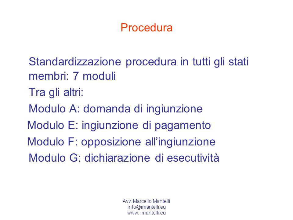 Avv. Marcello Mantelli info@imantelli.eu www. imantelli.eu Procedura Standardizzazione procedura in tutti gli stati membri: 7 moduli Tra gli altri: Mo