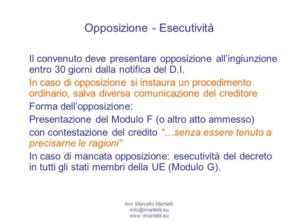 Avv. Marcello Mantelli info@imantelli.eu www. imantelli.eu Opposizione - Esecutività Il convenuto deve presentare opposizione allingiunzione entro 30