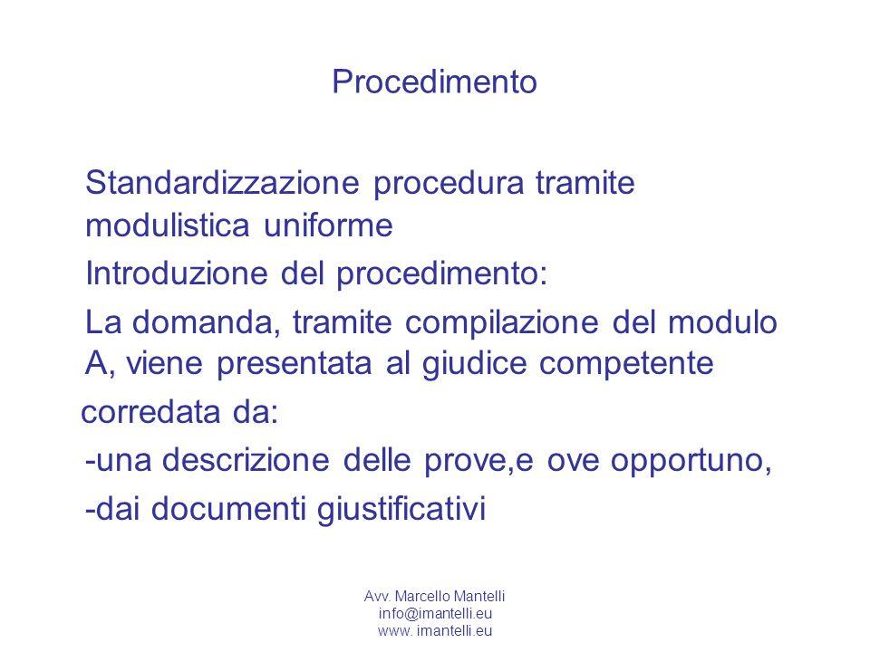 Avv. Marcello Mantelli info@imantelli.eu www. imantelli.eu Procedimento Standardizzazione procedura tramite modulistica uniforme Introduzione del proc