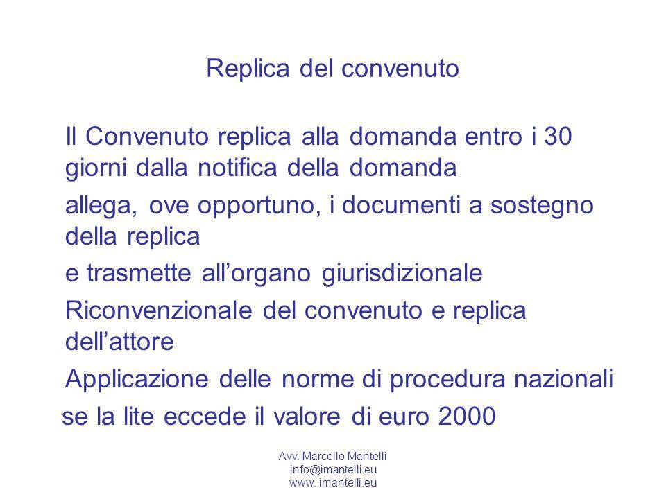 Avv. Marcello Mantelli info@imantelli.eu www. imantelli.eu Replica del convenuto Il Convenuto replica alla domanda entro i 30 giorni dalla notifica de