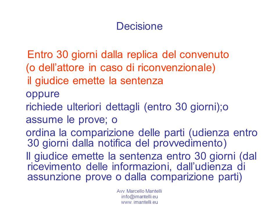 Avv. Marcello Mantelli info@imantelli.eu www. imantelli.eu Decisione Entro 30 giorni dalla replica del convenuto (o dellattore in caso di riconvenzion