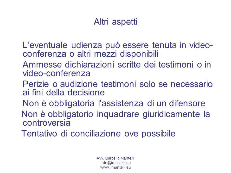 Avv. Marcello Mantelli info@imantelli.eu www. imantelli.eu Altri aspetti Leventuale udienza può essere tenuta in video- conferenza o altri mezzi dispo