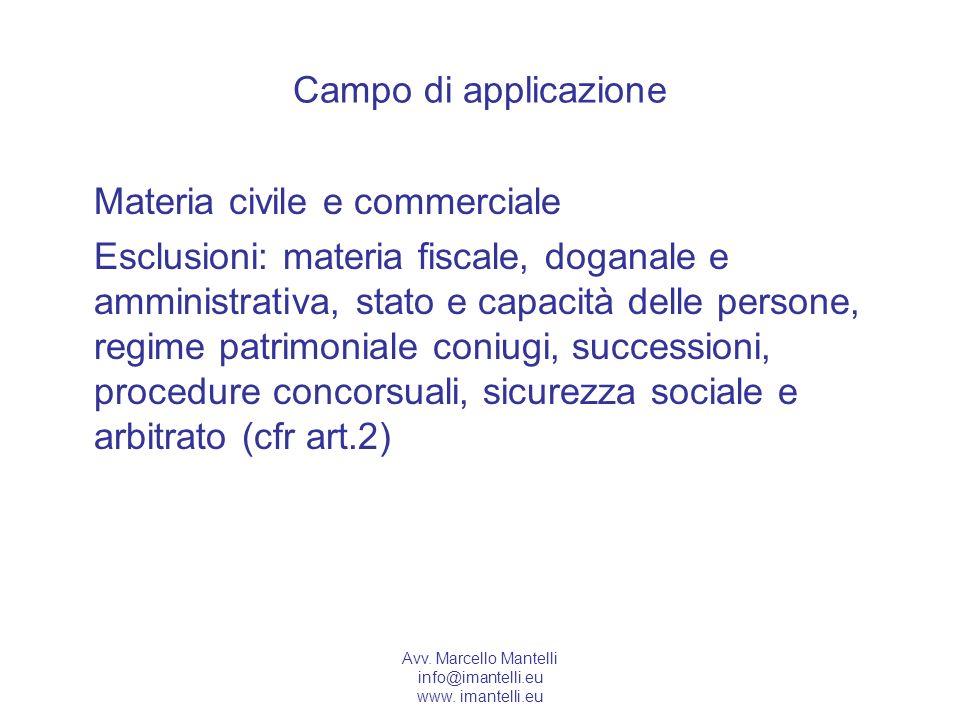 Avv. Marcello Mantelli info@imantelli.eu www. imantelli.eu Campo di applicazione Materia civile e commerciale Esclusioni: materia fiscale, doganale e
