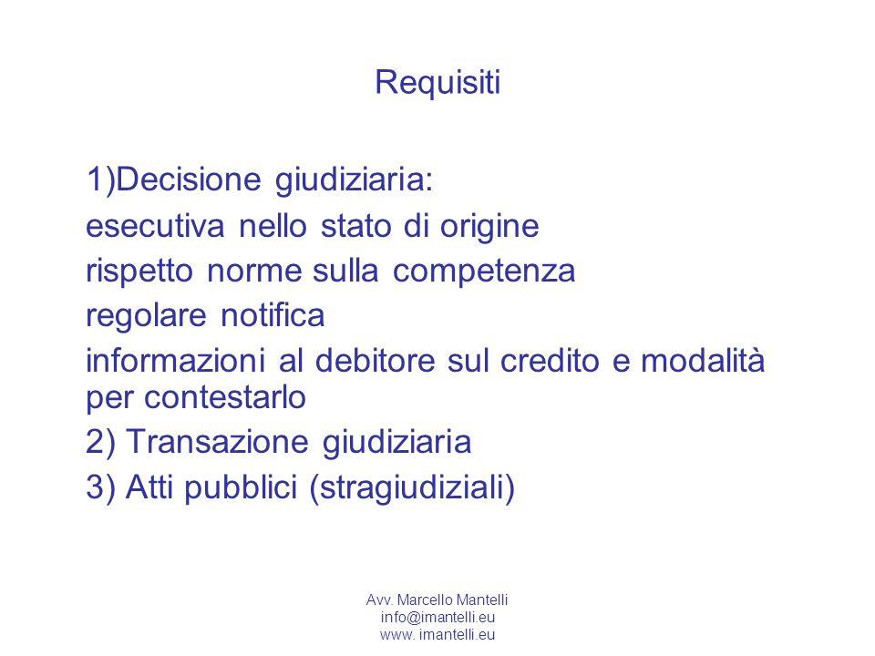 Avv. Marcello Mantelli info@imantelli.eu www. imantelli.eu Requisiti 1)Decisione giudiziaria: esecutiva nello stato di origine rispetto norme sulla co