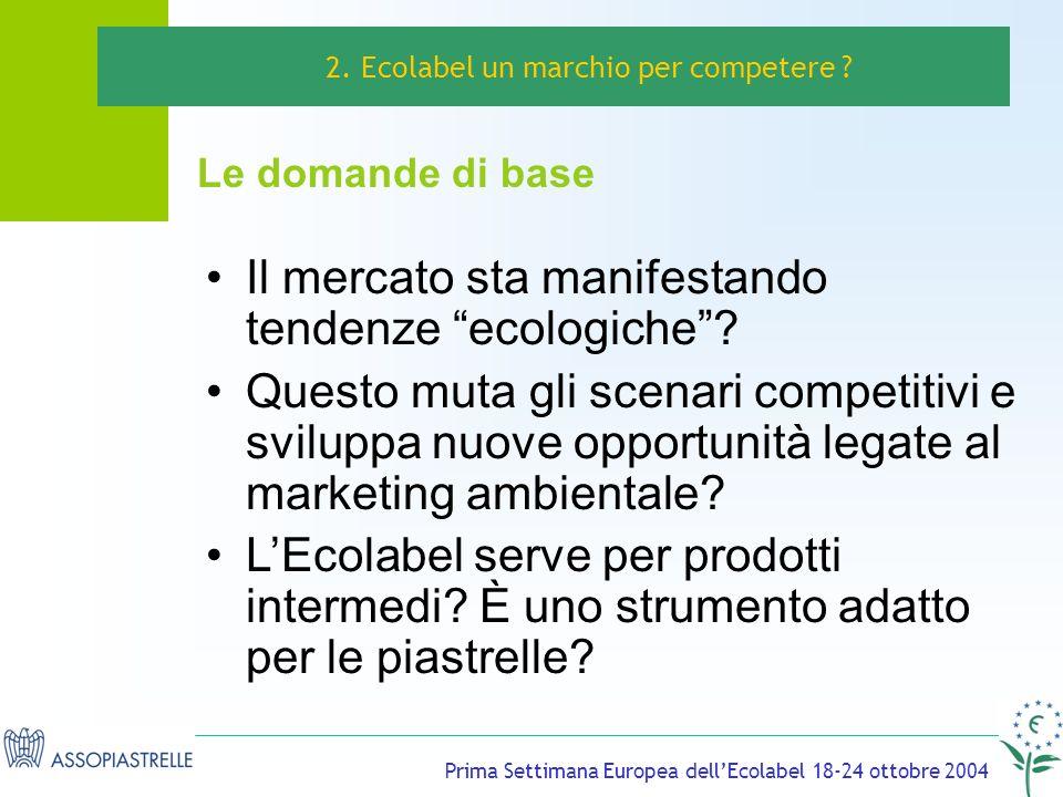 Prima Settimana Europea dellEcolabel 18-24 ottobre 2004 Il mercato sta manifestando tendenze ecologiche.