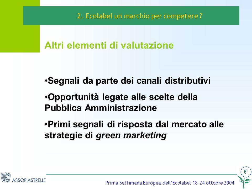Prima Settimana Europea dellEcolabel 18-24 ottobre 2004 Altri elementi di valutazione 2.