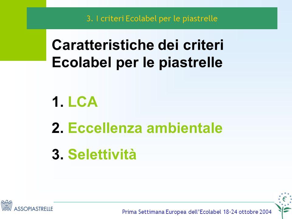 Prima Settimana Europea dellEcolabel 18-24 ottobre 2004 Caratteristiche dei criteri Ecolabel per le piastrelle 1.