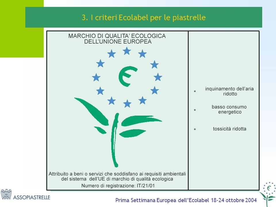 Prima Settimana Europea dellEcolabel 18-24 ottobre 2004 3. I criteri Ecolabel per le piastrelle