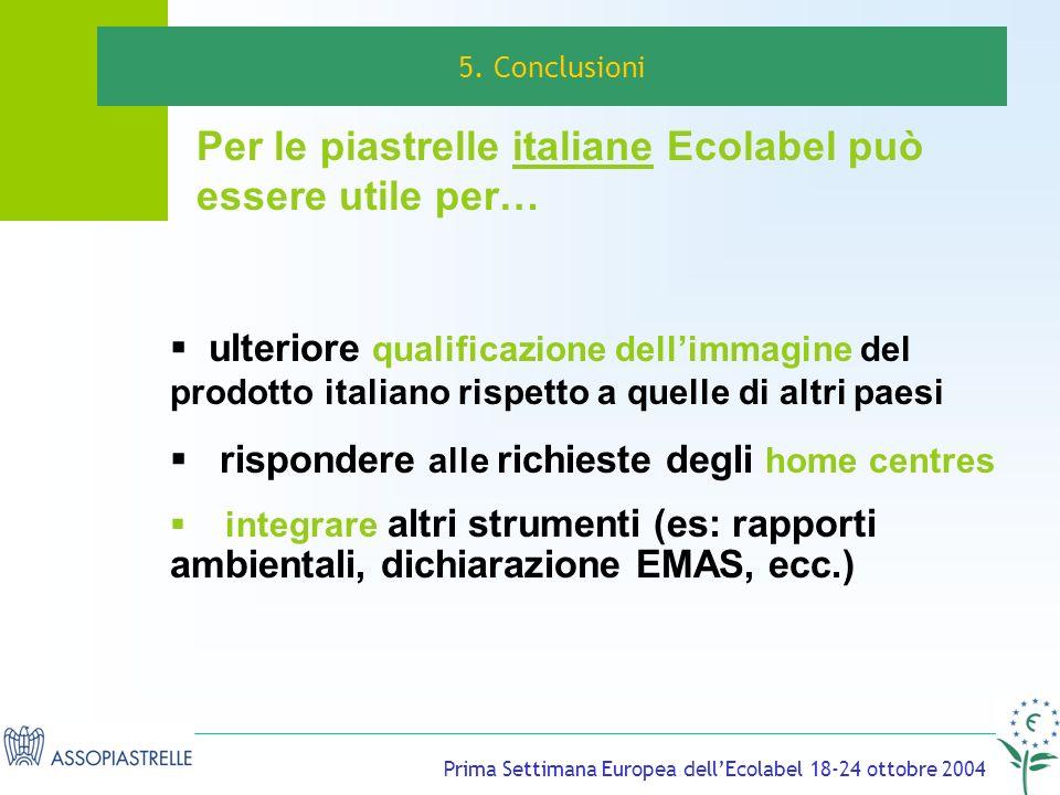 Prima Settimana Europea dellEcolabel 18-24 ottobre 2004 ulteriore qualificazione dellimmagine del prodotto italiano rispetto a quelle di altri paesi rispondere alle richieste degli home centres integrare altri strumenti (es: rapporti ambientali, dichiarazione EMAS, ecc.) 5.