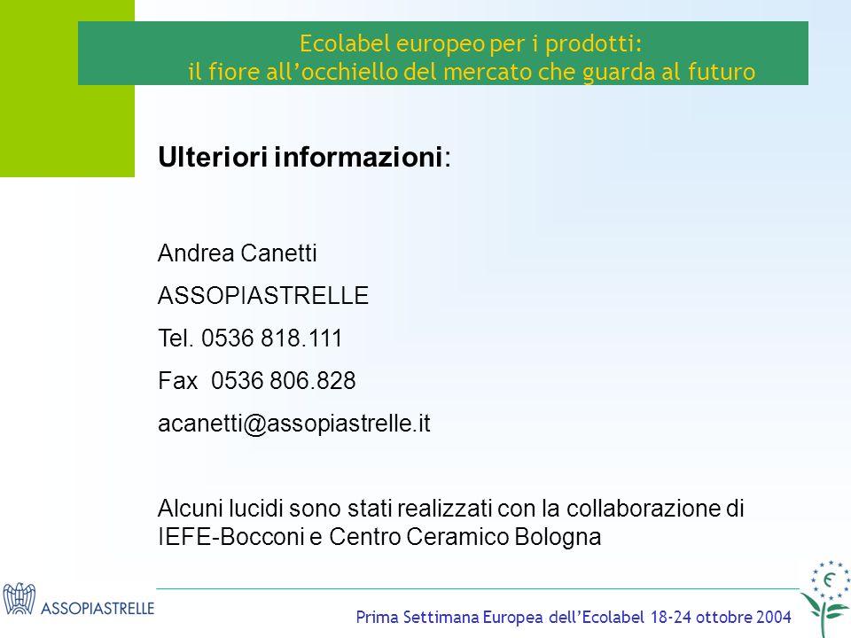 Prima Settimana Europea dellEcolabel 18-24 ottobre 2004 Ecolabel europeo per i prodotti: il fiore allocchiello del mercato che guarda al futuro Ulteriori informazioni: Andrea Canetti ASSOPIASTRELLE Tel.