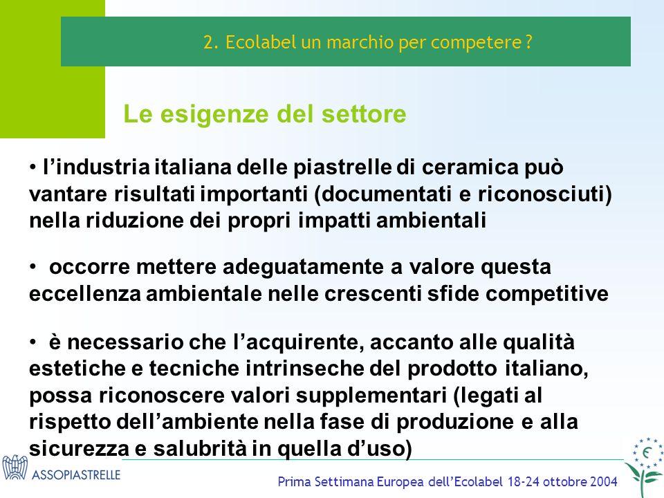 Prima Settimana Europea dellEcolabel 18-24 ottobre 2004 Le esigenze del settore 2.