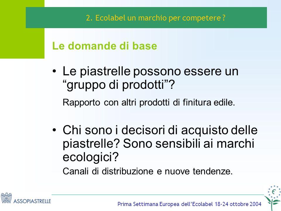 Prima Settimana Europea dellEcolabel 18-24 ottobre 2004 Le piastrelle possono essere un gruppo di prodotti.