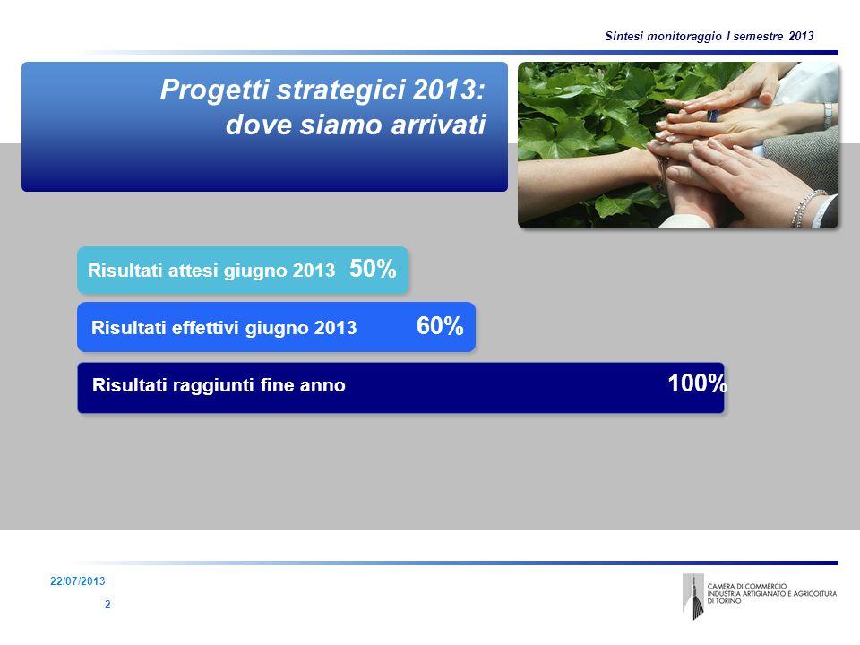 3 Risultati attesi giugno 2013 50% Risultati effettivi giugno 2013 60% Progetti strategici 2013: dove siamo arrivati 2 Sintesi monitoraggio I semestre 2013 22/07/2013 Risultati raggiunti fine anno 100%