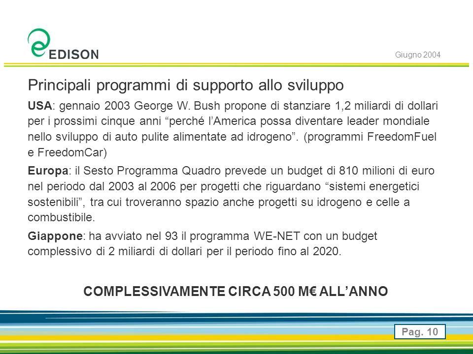 Giugno 2004 Pag. 10 Principali programmi di supporto allo sviluppo USA: gennaio 2003 George W.