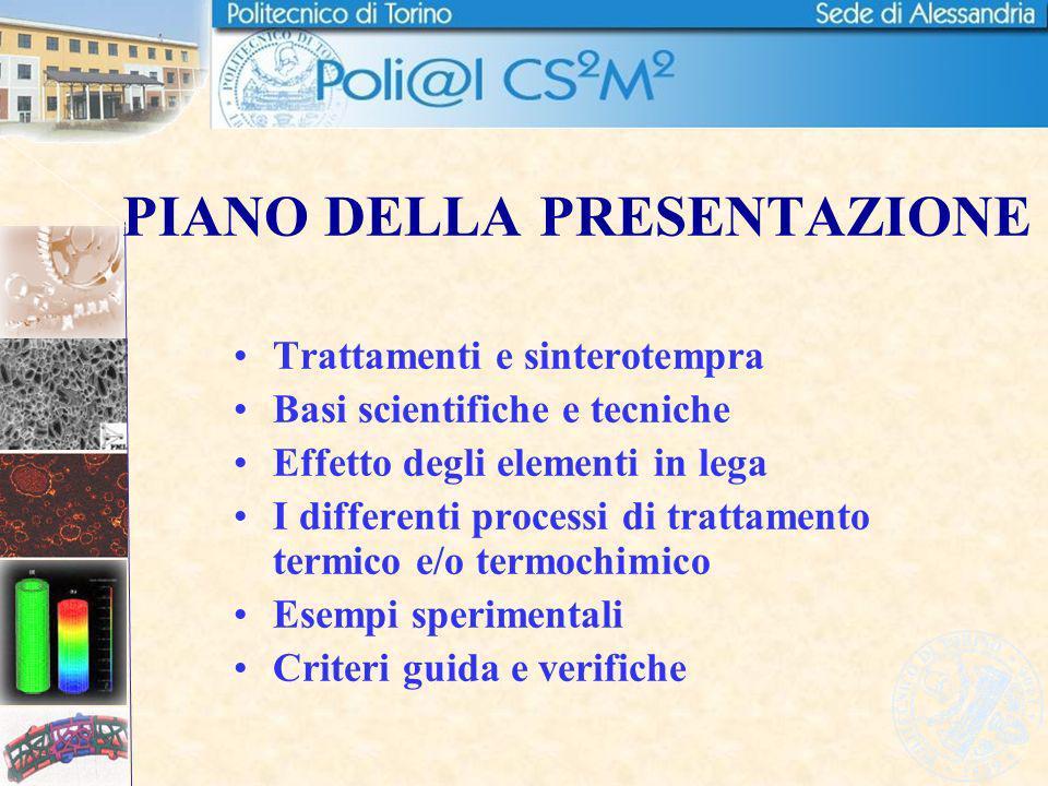 PIANO DELLA PRESENTAZIONE Trattamenti e sinterotempra Basi scientifiche e tecniche Effetto degli elementi in lega I differenti processi di trattamento