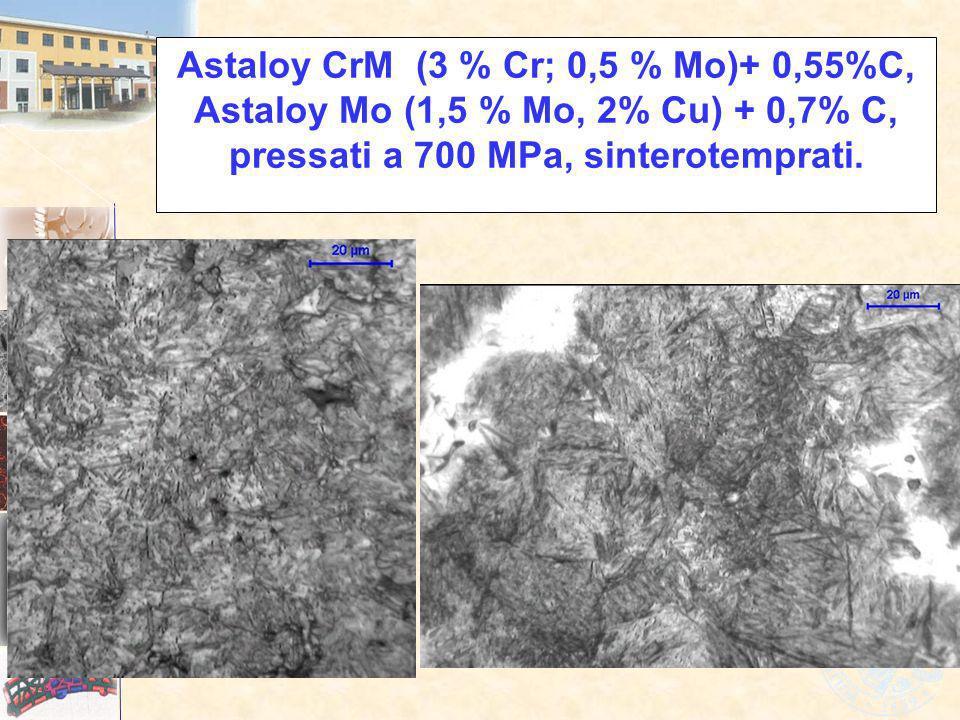 Astaloy CrM (3 % Cr; 0,5 % Mo)+ 0,55%C, Astaloy Mo (1,5 % Mo, 2% Cu) + 0,7% C, pressati a 700 MPa, sinterotemprati.