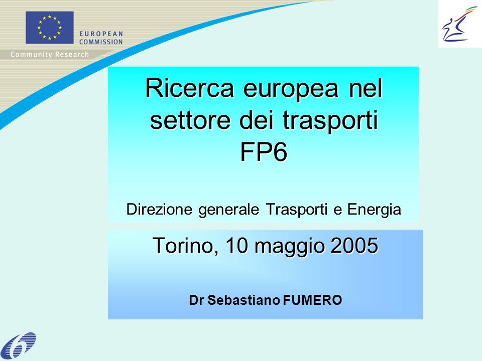 Ricerca europea nel settore dei trasporti FP6 Direzione generale Trasporti e Energia Torino, 10 maggio 2005 Dr Sebastiano FUMERO