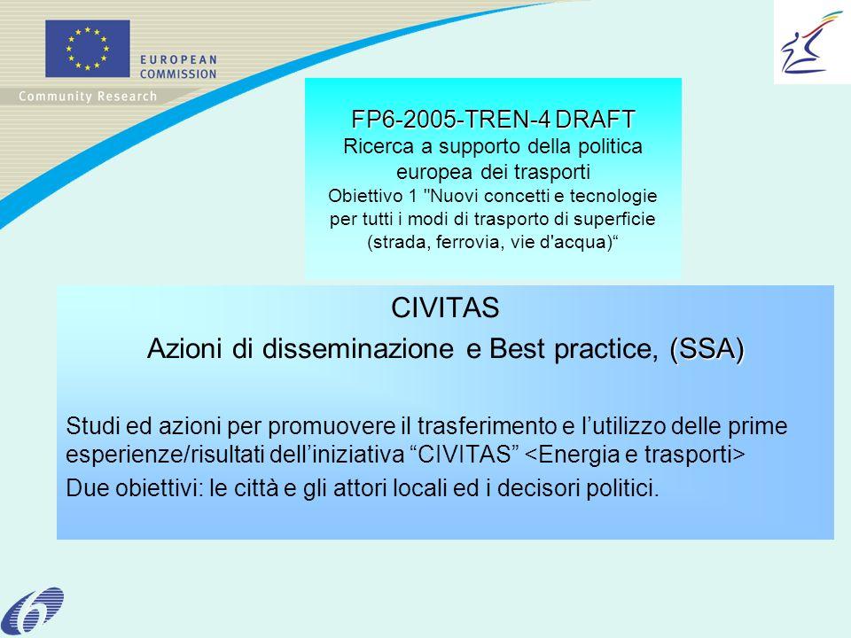 FP6-2005-TREN-4 DRAFT FP6-2005-TREN-4 DRAFT Ricerca a supporto della politica europea dei trasporti Obiettivo 1 Nuovi concetti e tecnologie per tutti i modi di trasporto di superficie (strada, ferrovia, vie d acqua) CIVITAS (SSA) Azioni di disseminazione e Best practice, (SSA) Studi ed azioni per promuovere il trasferimento e lutilizzo delle prime esperienze/risultati delliniziativa CIVITAS Due obiettivi: le città e gli attori locali ed i decisori politici.