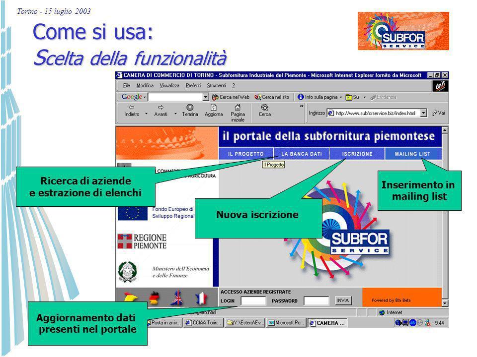 Torino - 15 luglio 2003 Come si usa: home page www.subforservice.biz Selezione della lingua