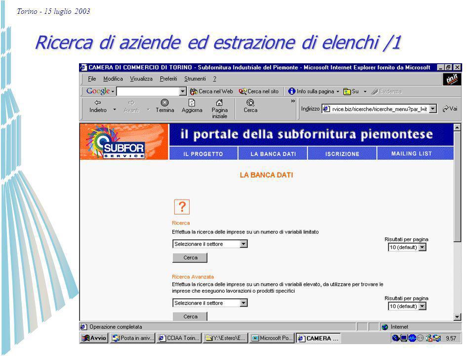 Torino - 15 luglio 2003 Ricerca di aziende e estrazione di elenchi Aggiornamento dati presenti nel portale Nuova iscrizione Inserimento in mailing list Come si usa: S celta della funzionalità