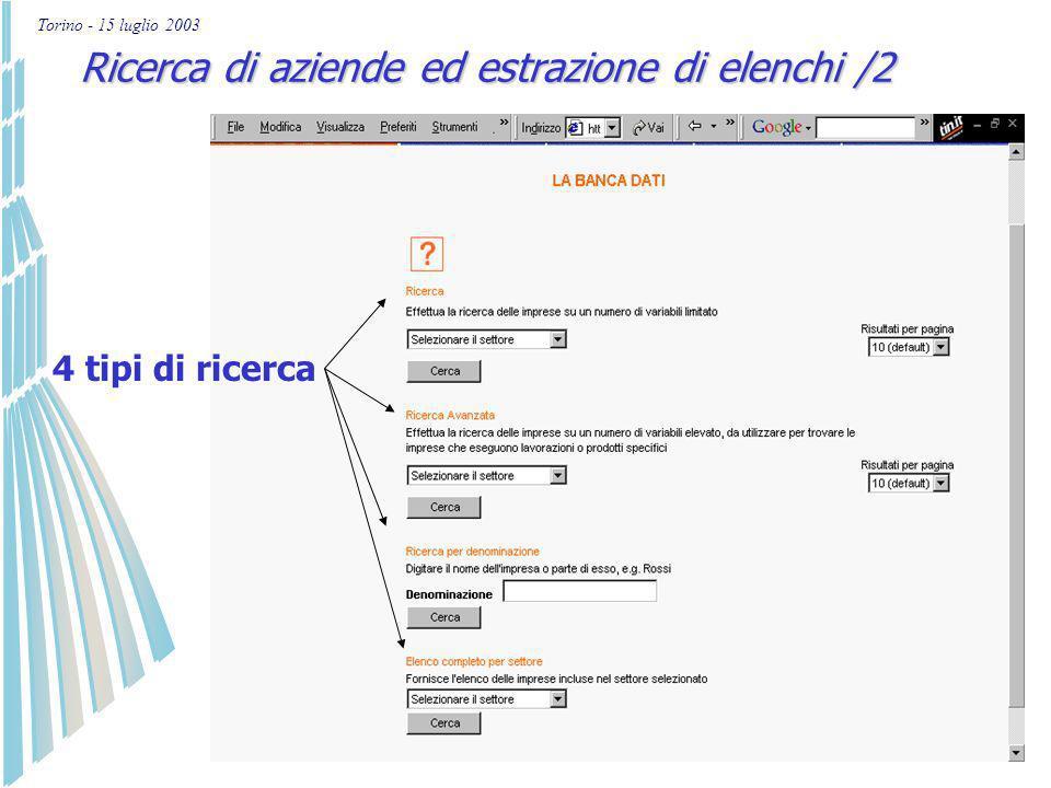 Torino - 15 luglio 2003 Ricerca di aziende ed estrazione di elenchi /1