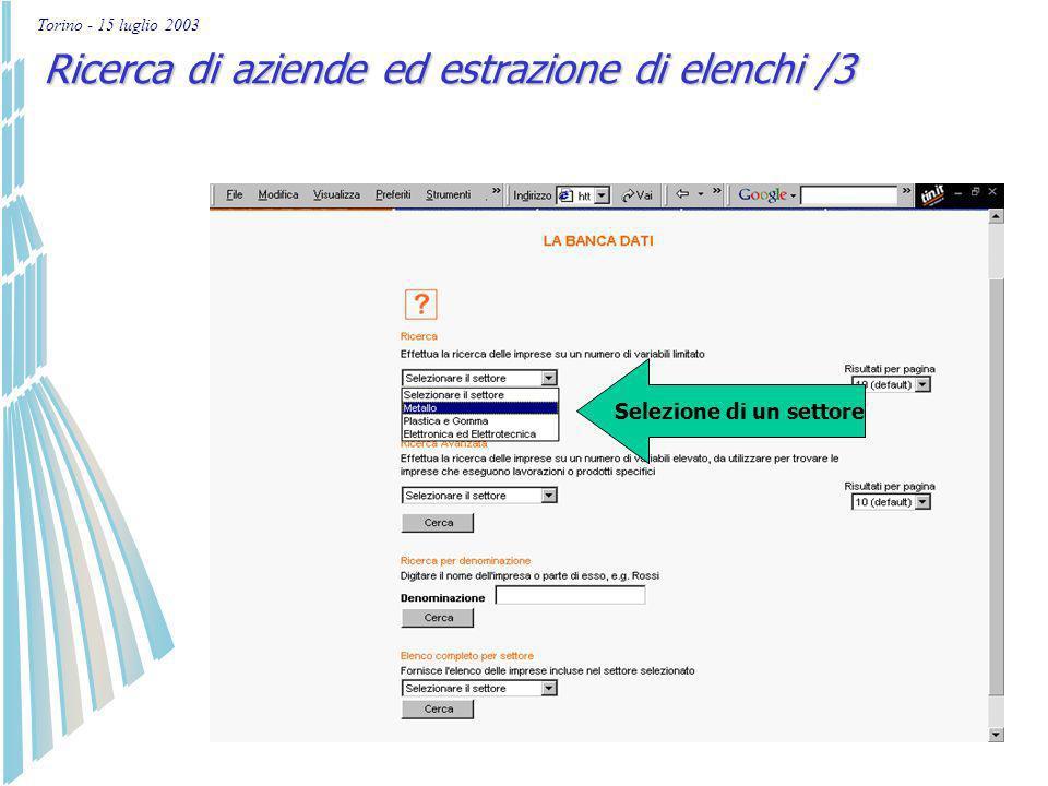 Torino - 15 luglio 2003 Ricerca di aziende ed estrazione di elenchi /2 4 tipi di ricerca