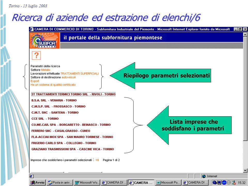 Torino - 15 luglio 2003 Ricerca di aziende ed estrazione di elenchi/5 Scelta parametri: es. impresa che effettua trattamenti superficiali Opera nel se