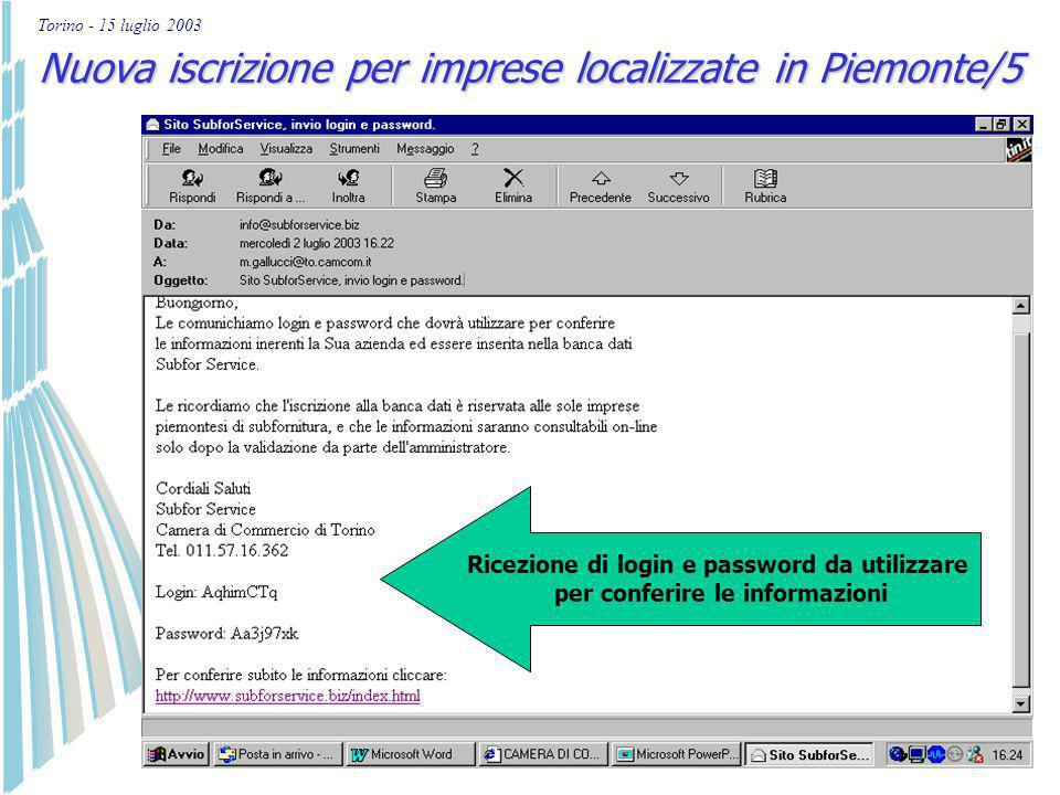 Torino - 15 luglio 2003 Nuova iscrizione per imprese localizzate in Piemonte/4