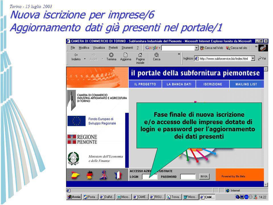 Torino - 15 luglio 2003 Nuova iscrizione per imprese localizzate in Piemonte/5 Ricezione di login e password da utilizzare per conferire le informazio