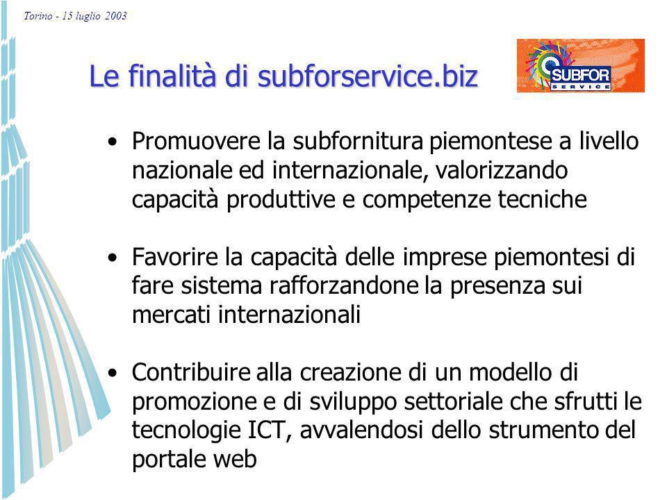 Torino - 15 luglio 2003 Per maggiori informazioni Sito Web: www.subforservice.biz Email: info@subforservice.biz Tel.