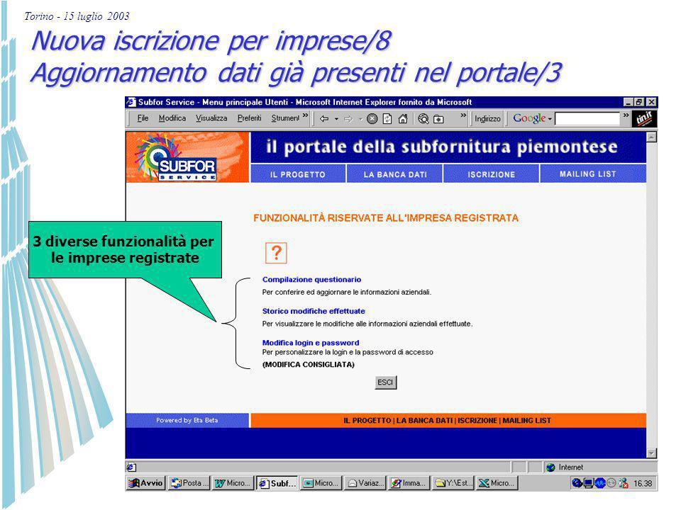 Torino - 15 luglio 2003 Nuova iscrizione per imprese/7 Aggiornamento dati già presenti nel portale/2