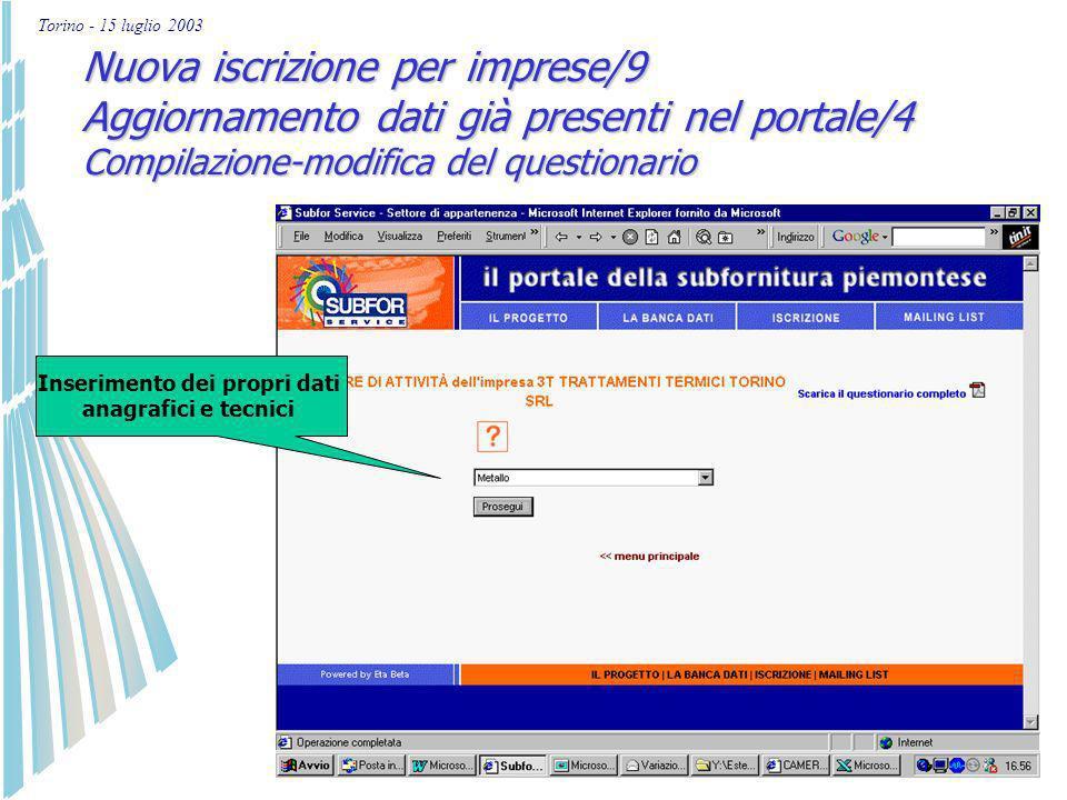 Torino - 15 luglio 2003 Nuova iscrizione per imprese/8 Aggiornamento dati già presenti nel portale/3 3 diverse funzionalità per le imprese registrate