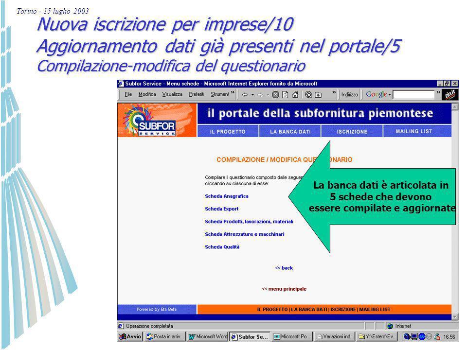 Torino - 15 luglio 2003 Nuova iscrizione per imprese/9 Aggiornamento dati già presenti nel portale/4 Compilazione-modifica del questionario Inseriment