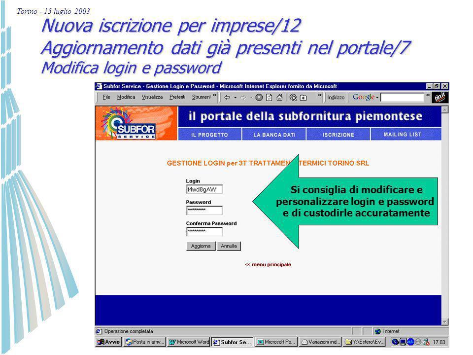 Torino - 15 luglio 2003 Nuova iscrizione per imprese/11 Aggiornamento dati già presenti nel portale/6 Storico modifiche effettuate Si possono visualiz