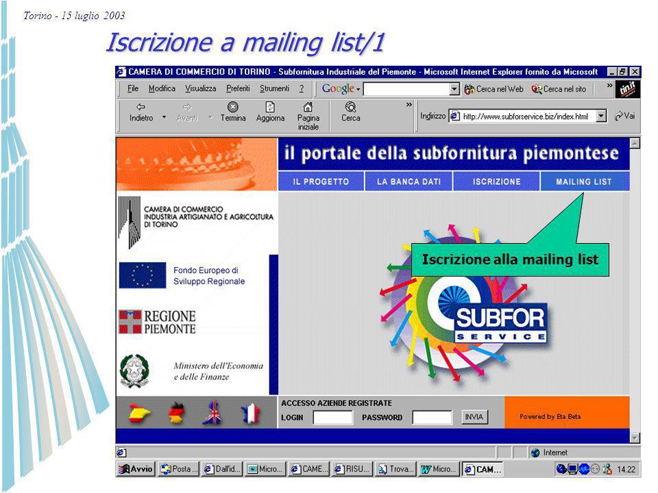 Torino - 15 luglio 2003 Nuova iscrizione per imprese/12 Aggiornamento dati già presenti nel portale/7 Modifica login e password Si consiglia di modifi