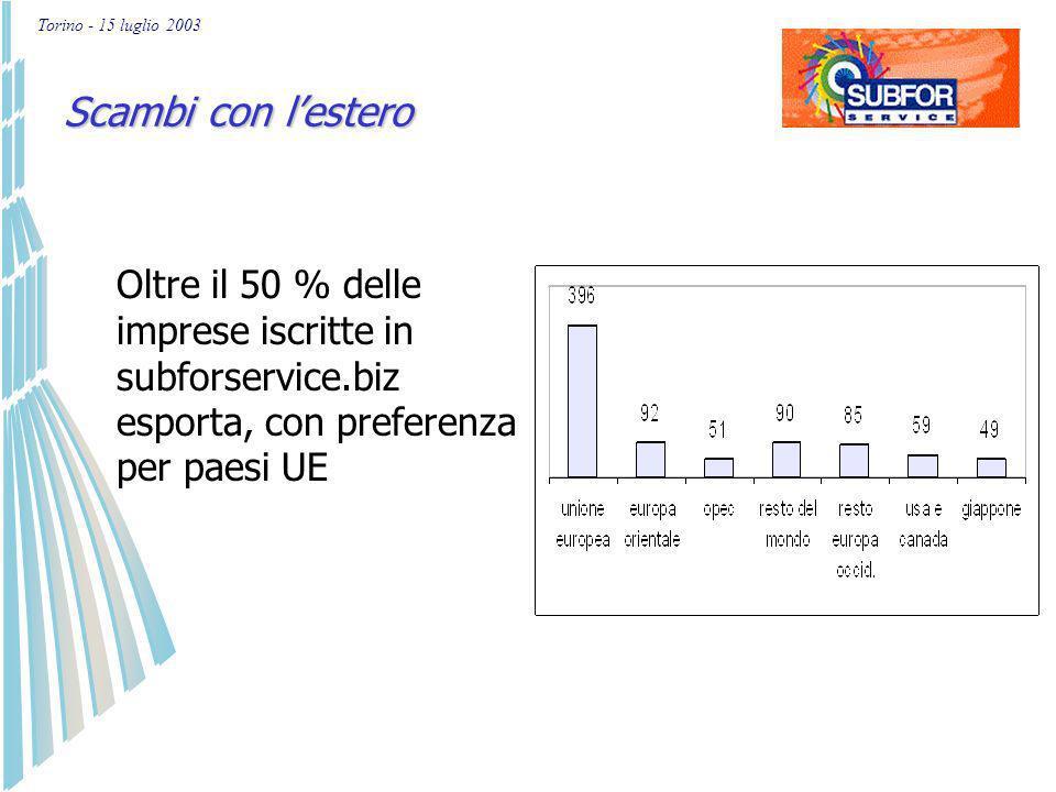 Torino - 15 luglio 2003 % aziende 0 10 20 30 40 fino a 9 da 10 a 19 da 20 a 49 da 50 a 99 > 99 classe di addetti metallo plastica elettronica Dimensione aziendale in relazione ai settori di attività