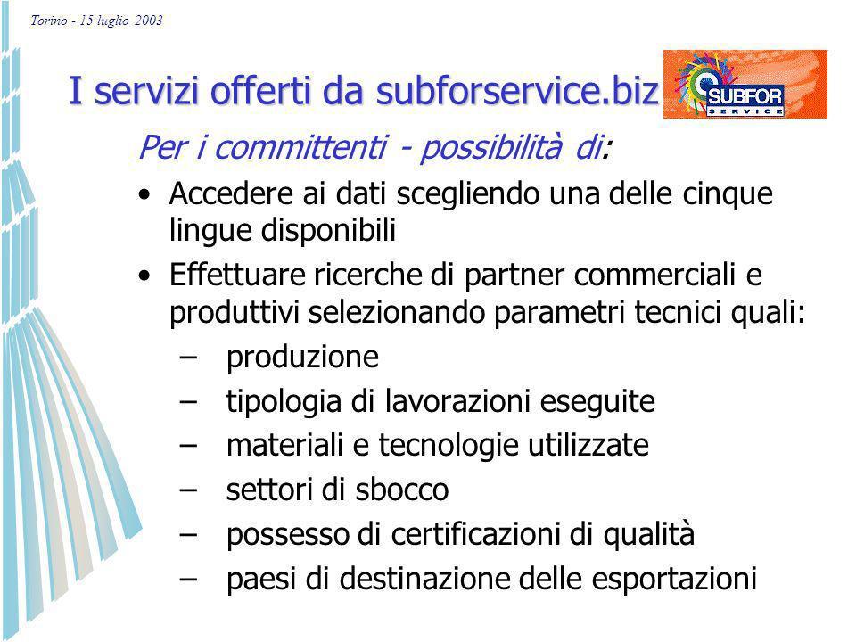 Torino - 15 luglio 2003 I servizi offerti da subforservice.biz Per le imprese piemontesi - possibilità di: Iscriversi e aggiornare direttamente le inf